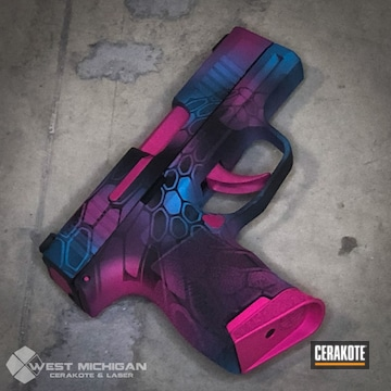 Kryptek Glock Cerakoted Using Prison Pink, Sky Blue And Graphite Black