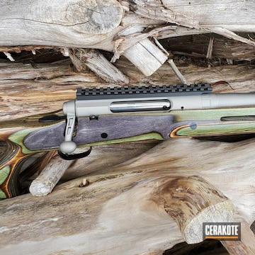 Bolt Action Rifle Cerakoted Using Titanium And Graphite Black
