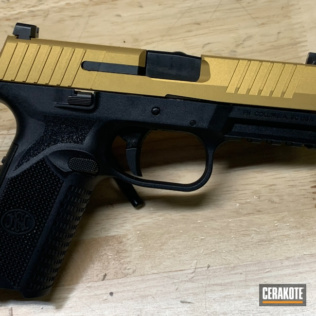 Cerakoted: S.H.O.T,FNH,Pistol,Semi-Auto,45 ACP,509,Gold H-122