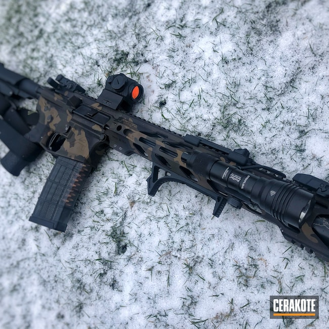 Cerakoted: m4e1,Aero,.223,Custom Camo,5.56,Aero Precision,AR Pistol,MultiCam,Graphite Black H-146,AR,Burnt Bronze H-148,M4 Carbine,AR-15