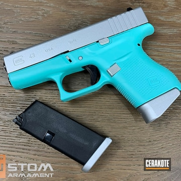 Glock 43 Cerakoted Using Crushed Silver And Robin's Egg Blue