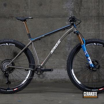 Custom 2020 Powerline Sage Titanium Show Bike Cerakoted Using Bright White, Nra Blue And Graphite Black