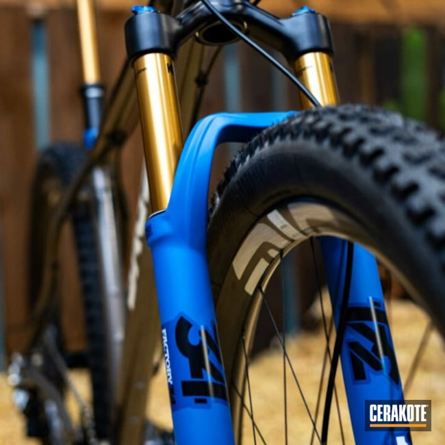 Cerakoted: Bike Frame,Bicycle Frame,USA,MTB,Bikes,SAGE Titanium,Bike Fork,Bright White H-140,Gloss Clear,Fox Shocks,Powerline,NRA Blue H-171,FIREHOUSE RED H-216,Titanium Frame,Shock Body,Mountain Bike,Float 34,Graphite Black H-146,Bicycle,Titanium Bike,Fox Racing