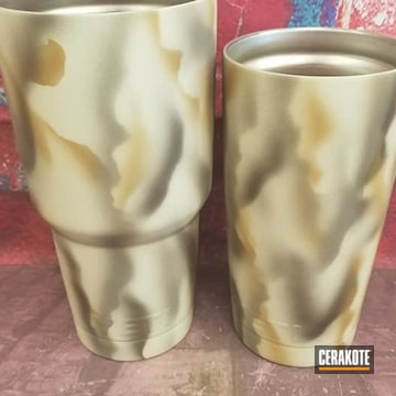 Tumblers Cerakoted Using Noveske Tiger Eye Brown, Plum Brown And Desert Sand