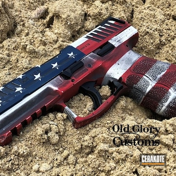 Distressed United States Flag Hk Vp9 Pistol Cerakoted Using Kel-tec® Navy Blue, Snow White And Firehouse Red