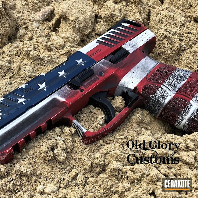 Cerakoted: S.H.O.T,VP9,FIREHOUSE RED H-216,Snow White H-136,Distressed American Flag,HKVP9,KEL-TEC® NAVY BLUE H-127,American Flag,HK