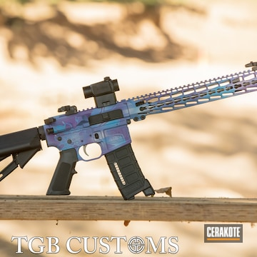 Kryptek Ar Build Cerakoted Using Satin Aluminum, Sky Blue And Bright Purple