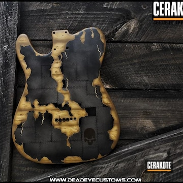 Electric Guitar Body Cerakoted Using Noveske Tiger Eye Brown, Stainless And Midnight Bronze