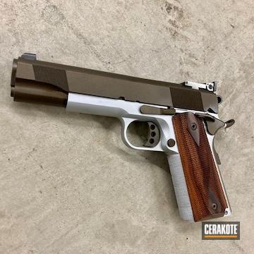 1911 Pistol Cerakoted Using Satin Aluminum And Midnight Bronze