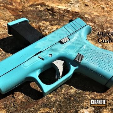 Glock 42 Cerakoted Using Snow White, Shimmer Aluminum And Nra Blue