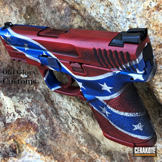 Cerakoted: S.H.O.T,Distressed,Rebel Flag,American Flag,S&W,NRA Blue H-171,FIREHOUSE RED H-216,Snow White H-136,Confederate Flag,Graphite Black H-146,Smith & Wesson,Distressed American Flag,M&P40