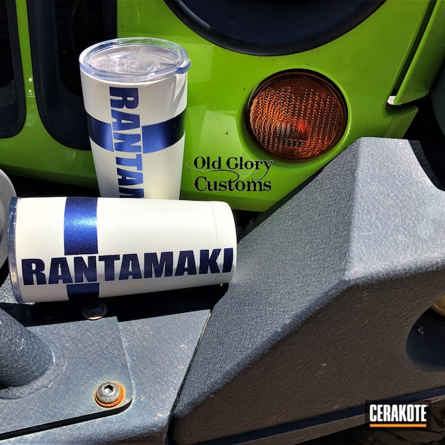 Cerakoted: Gun Candy Cobalt,Snow White H-136,HIGH GLOSS CERAMIC CLEAR MC-160,Finnish Flag,Travel Mug