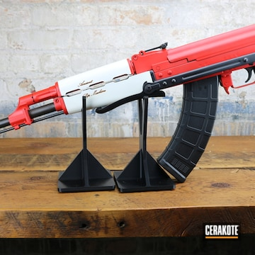 Custom Ak-47 Cerakoted Using Stormtrooper White And Usmc Red
