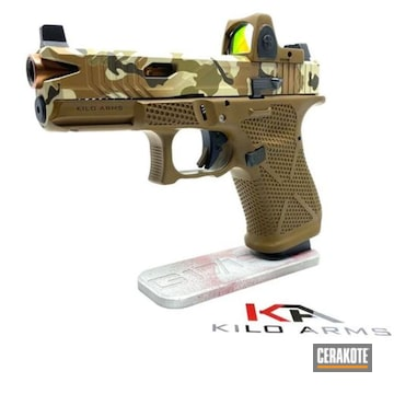 Multicam Custom Glock 19 Cerakoted Using Multicam® Dark Brown, Patriot Brown And Benelli® Sand