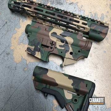 Woodland Camo Sons Of Liberty Ar Builders Set Cerakoted Using Jesse James Eastern Front Green, Coyote Tan And Graphite Black