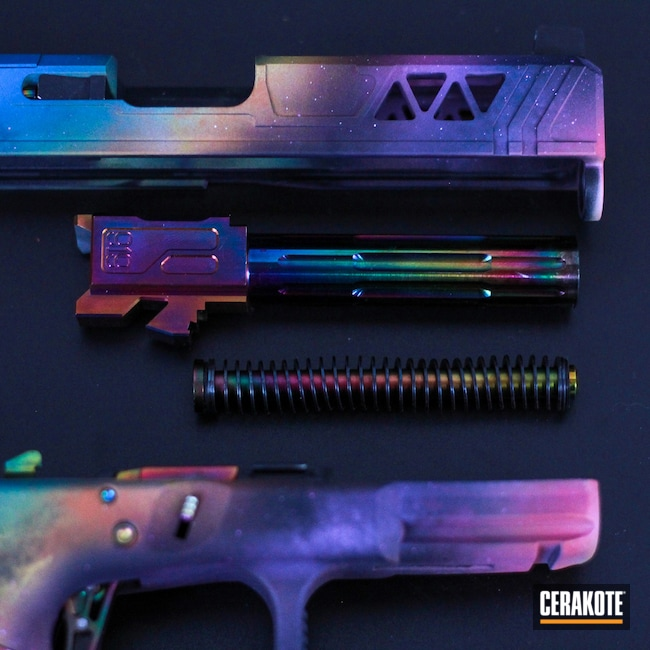 Cerakoted: S.H.O.T,Midnight Blue H-238,SIG™ PINK H-224,Stippled,Pistol,Hand Stippled,SQUATCH GREEN H-316,Rainbow,Bright Purple H-217,Glock,Handguns,SUNFLOWER H-317,Galaxy,Sky Blue H-169