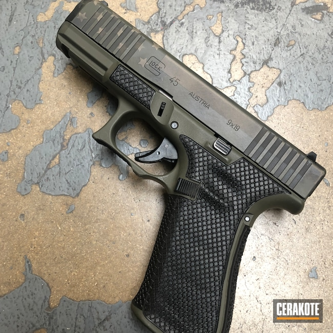 Cerakoted: Glock 45,MAGPUL® FLAT DARK EARTH H-267,Distressed,Armor Black H-190,Pistol,American Flag,O.D. Green H-236,Gold H-122,Battleworn,Battleworn Flag,Distressed American Flag,Worn,Glock,Handguns