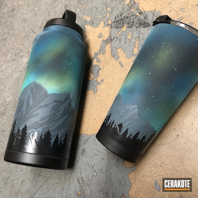 Cerakoted: Midnight Blue H-238,Water Bottle,Skyline,Zombie Green H-168,RTIC Tumbler,Mountains,RTIC,Bright White H-140,Jesse James Cold War Grey H-402,Night Sky,Aurora Borealis,BLUE RASPBERRY H-329,Sky Blue H-169