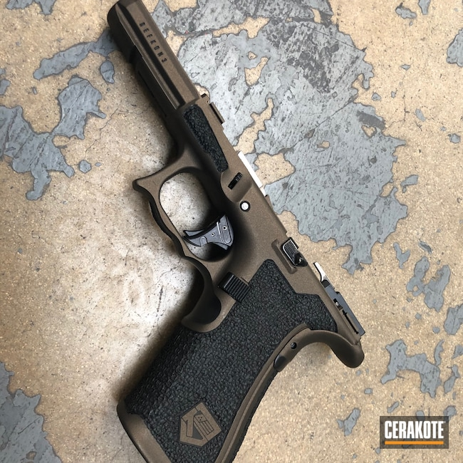 Cerakoted: S.H.O.T,Stippled,Pistol,Glock,Hand Stippled,Midnight Bronze H-294,Handguns,Defkon3