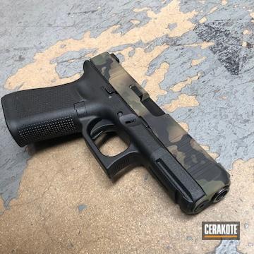 Dark Multicam Glock Cerakoted Using Armor Black, Jesse James Eastern Front Green And Coyote Tan
