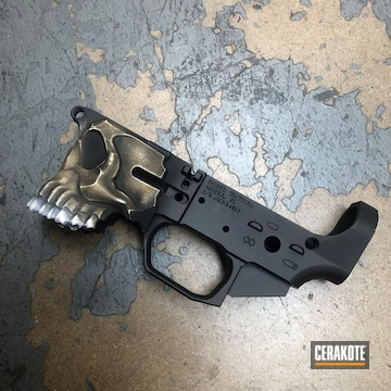 Spike's Tactical The Jack Lower Cerakoted Using Armor Black, Bright White And Coyote Tan