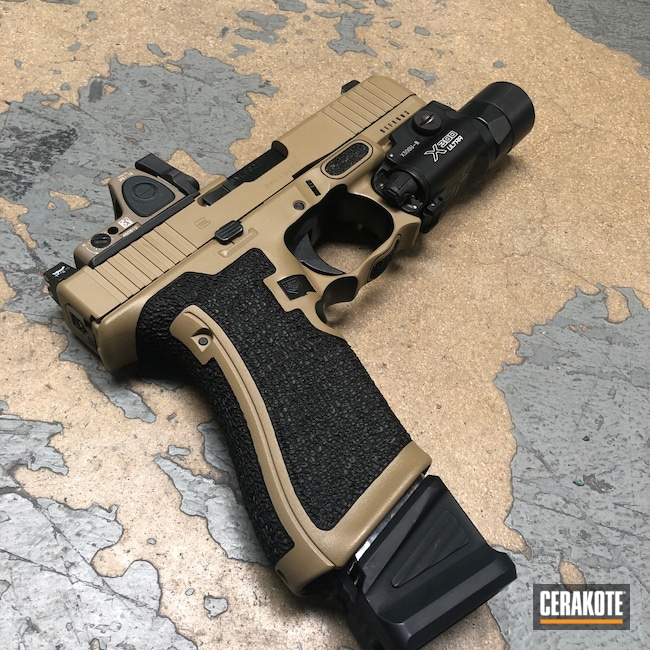 Cerakoted: S.H.O.T,Glock 45,Coyote Tan H-235,Stippled,Pistol,Glock,Hand Stippled,Handguns,Defkon3
