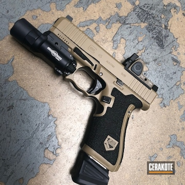 Custom Glock 45 Cerakoted Using Coyote Tan