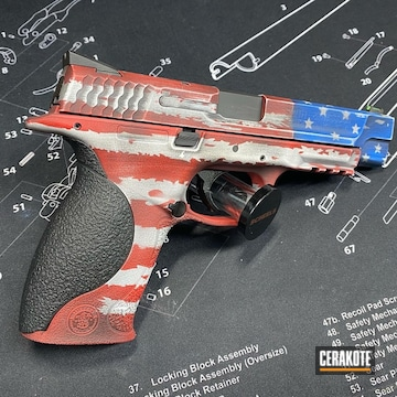 Distressed United States Flag M&p Cerakoted Using Usmc Red, Bright White And Nra Blue