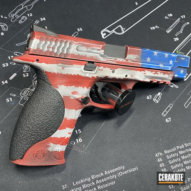 Cerakoted: Bright White H-140,9mm,NRA Blue H-171,Distressed American Flag,USMC Red H-167,Smith & Wesson M&P