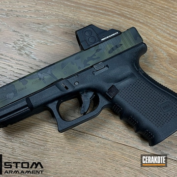 Glock 19 Cerakoted Using Sniper Green, Sig™ Dark Grey And Graphite Black