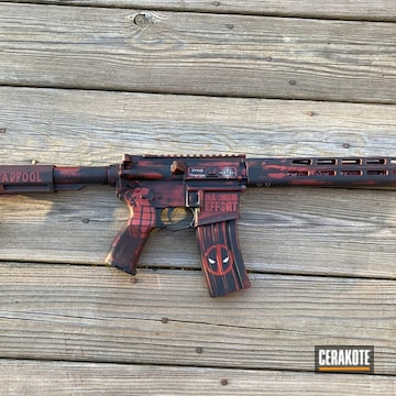 Deadpool Themed Ar Cerakoted Using Hidden White, Crimson And Graphite Black