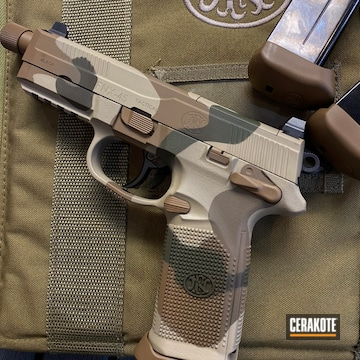 Fnx-45 Cerakoted Using Troy® Coyote Tan, Desert Sand And O.d. Green