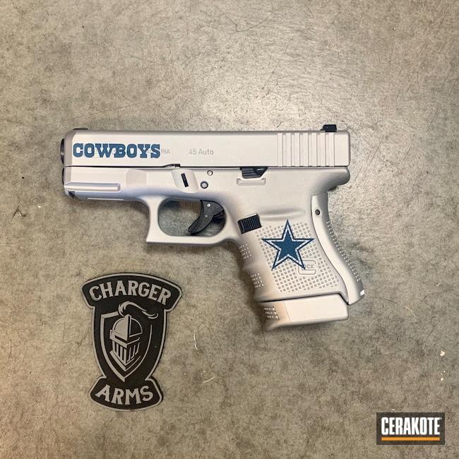 Cerakoted: S.H.O.T,.45,NRA Blue H-171,Satin Aluminum H-151,Pistol,Glock,30,Dallas Cowboys