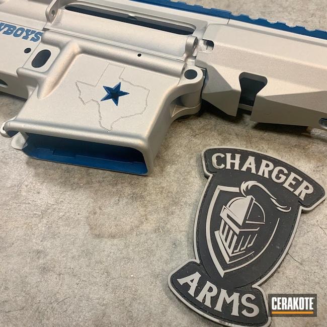 Cerakoted: S.H.O.T,AR Pistol,NRA Blue H-171,Satin Aluminum H-151,AR-15,Dallas Cowboys