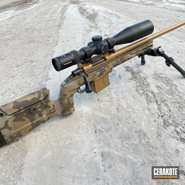 Cerakoted: S.H.O.T,Bolt Action Rifle,6.5 Creedmoor,Desert Sage H-247,Bolt Action,Sniper Rifle,Howa,Howa M1500,Creedmoor,6.5,Noveske Tiger Eye Brown H-187,Patriot Brown H-226,GLOCK® FDE H-261