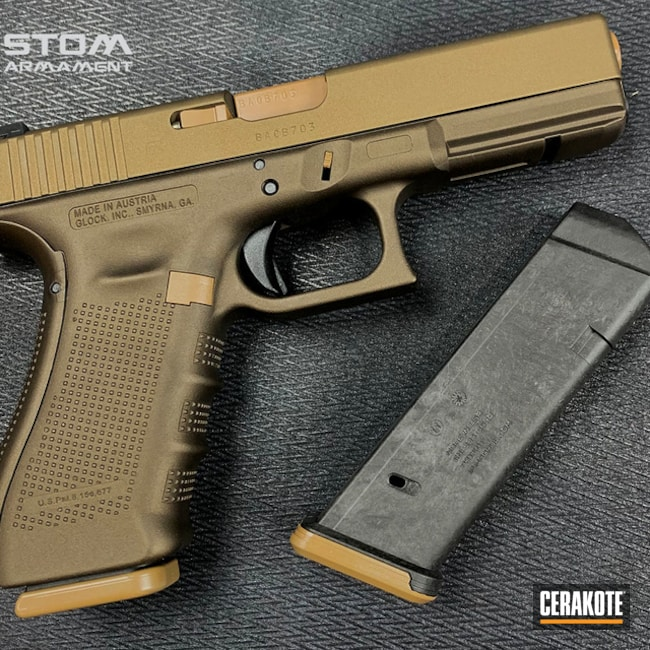 Glock 17 Cerakoted Using Midnight Bronze, 20150 And Burnt Bronze