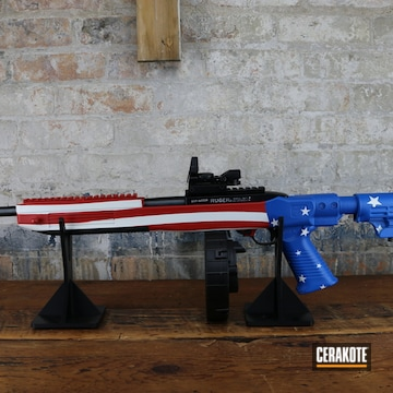 Custom United States Flag Ruger Ar Cerakoted Using Stormtrooper White, Nra Blue And Firehouse Red