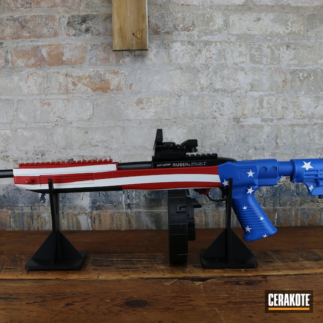 Cerakoted: S.H.O.T,NRA Blue H-171,FIREHOUSE RED H-216,Ruger,AR,Stormtrooper White H-297,American Flag,Red White And Blue