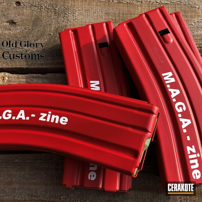 Cerakoted: S.H.O.T,Magazines,FIREHOUSE RED H-216,Snow White H-136,MAGA,Trump,AR-15