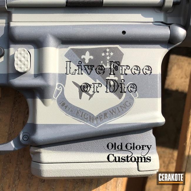 Cerakoted: Hidden White H-242,S.H.O.T,Graphite Black H-146,American Flag,Bull Shark Grey H-214,Live Free or Die,OG-15,Ghost Flag,AR-15