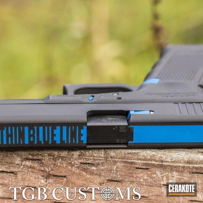 Cerakoted: S.H.O.T,NRA Blue H-171,Thin Blue Line,Armor Black H-190,Pistol,Glock,Glock 22,.40,Handgun
