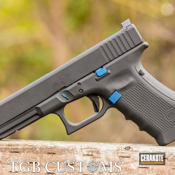 Glock 22 Cerakoted Using Armor Black And Nra Blue
