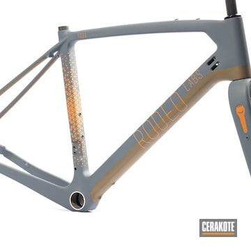 Rodeo Labs Trail Donkey Bike Frame And Forks Cerakoted Using Cobalt Kinetics™ Slate, Tequila Sunrise And Burnt Bronze