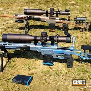 Long Range Rifles Cerakoted Using Tequila Sunrise And Midnight Blue