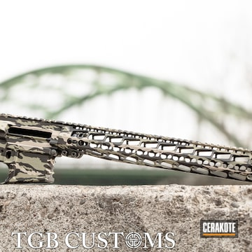 Vietnam Tiger Stripe Camo Ar Builders Set Cerakoted Using Armor Black And Magpul® Flat Dark Earth
