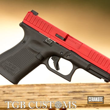 Glock 44 Cerakoted Using Armor Black And Ruby Red