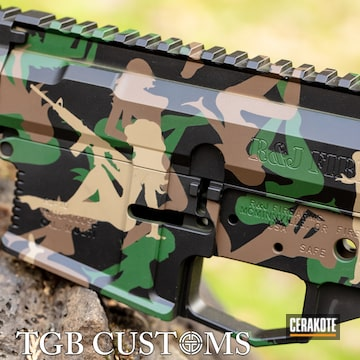 Ar Builders Set Cerakoted Using Armor Black, Highland Green And Chocolate Brown