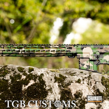 Woodland Camo Ar Builders Set Cerakoted Using Armor Black, Highland Green And Chocolate Brown
