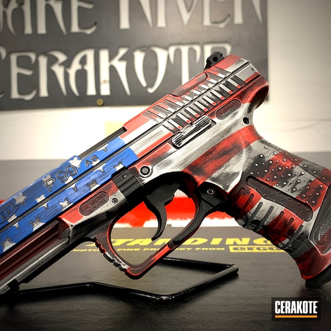 Cerakoted: S.H.O.T,Distressed,USMC Red H-167,Pistol,American Flag,Stencil,.40,P99,NRA Blue H-171,Battleworn,Graphite Black H-146,Stormtrooper White H-297,Distressed American Flag,Stars and Stripes