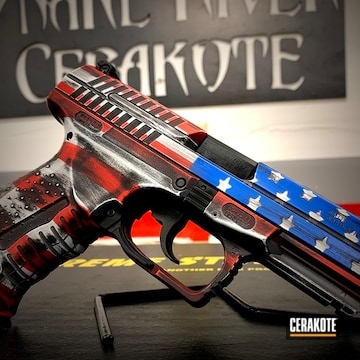 Distressed United States Flag Walther P99 Cerakoted Using Stormtrooper White, Usmc Red And Nra Blue
